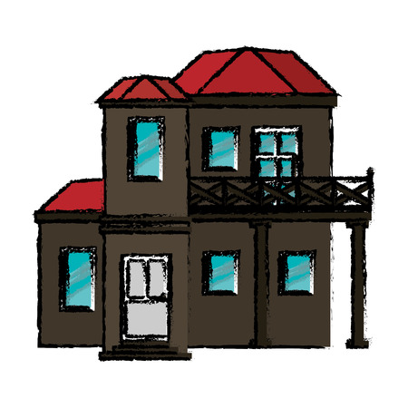 red roof: drawing house with balcony red roof vector illustration eps 10