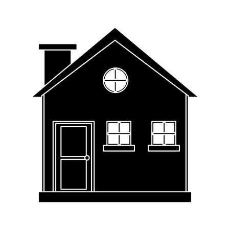 pictogram cottage wooden chimney exterior vector illustration eps 10