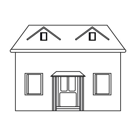 veranda: house facade loft outline icon vector illustration eps 10