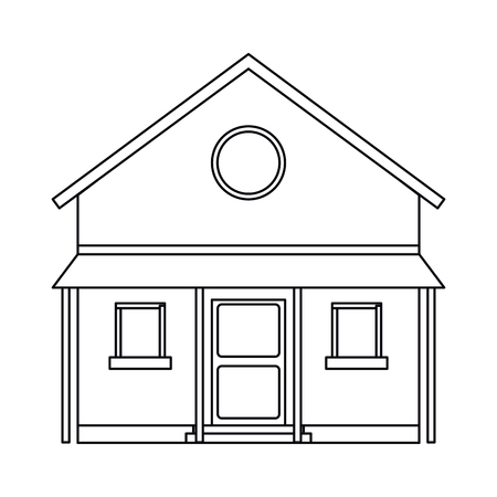 familiy: familiy house countryside outline vector illustration eps 10