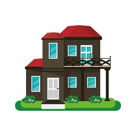 veranda: house with balcony red roof garden design vector illustration eps 10