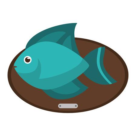 ecosistema: animal de la historieta de los pescados sobre icono de la tabla. Sea la fauna de los ecosistemas y la vida tema del océano. diseño aislado. ilustración vectorial