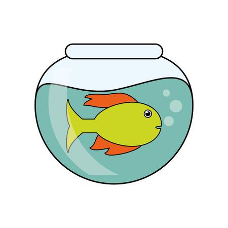 ecosistema: historieta animal pez dentro de un tazón icono. Sea la fauna de los ecosistemas y la vida tema del océano. diseño aislado. ilustración vectorial