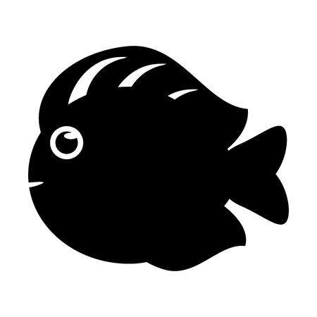 ecosistema: icono de los pescados de la historieta animal. Sea la fauna de los ecosistemas y la vida tema del océano. diseño y la silueta aislados. ilustración vectorial