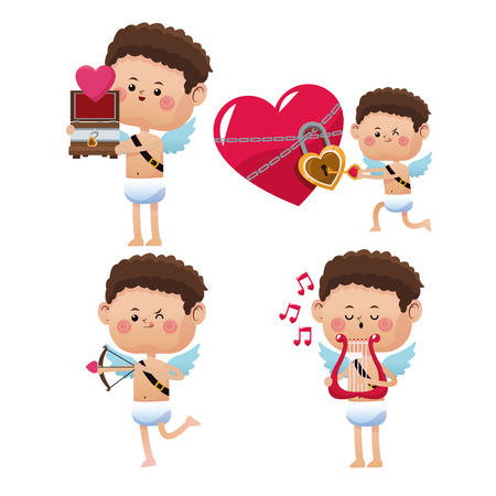 collection different cupid posing valentine day Illustration