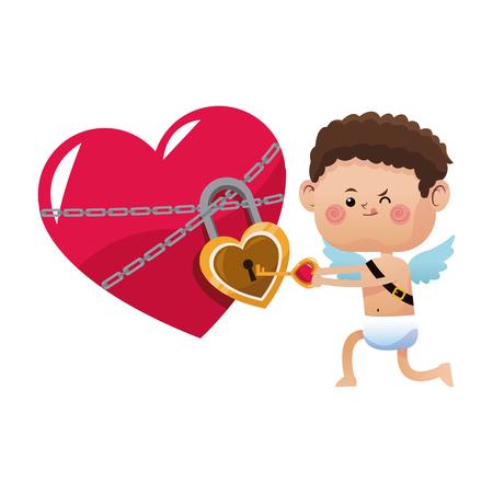 cute little cupid valentine day opened heart lock