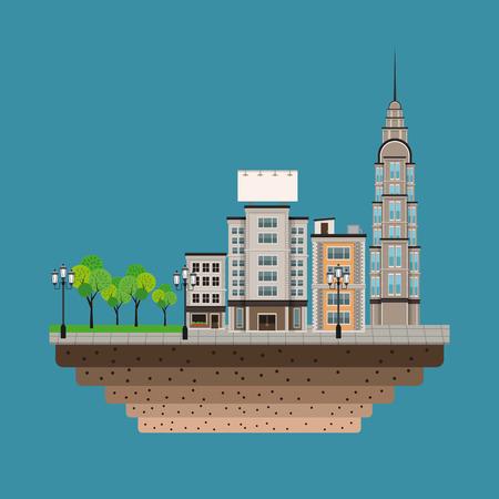 lamp post: urban building street lamp post blue background Illustration