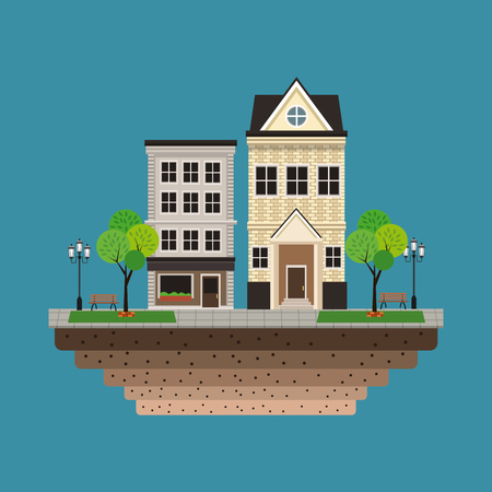 house building residential urban blue background