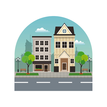 house building residential urban street with tree Illustration