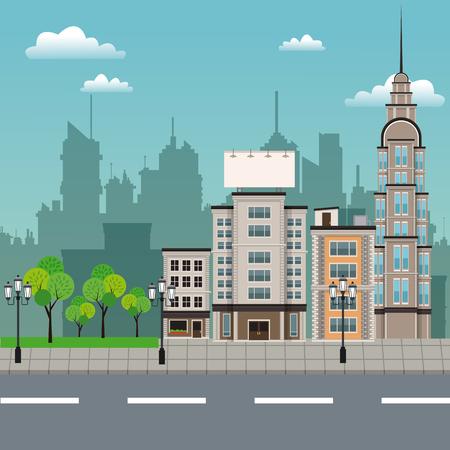 lamp post: urban building street lamp post Illustration