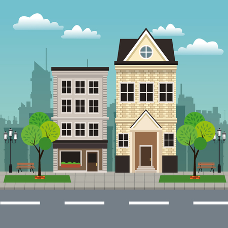 house building residential urban streetscape