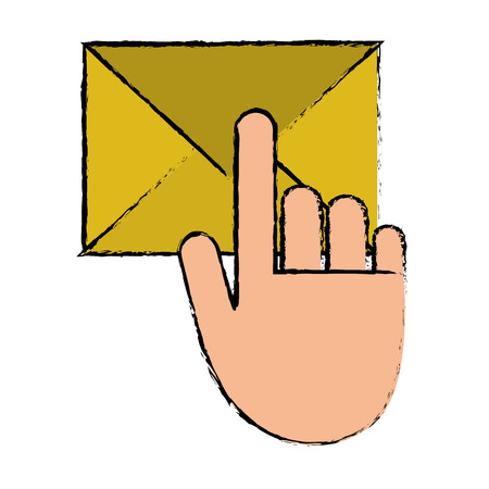 hand touch envelope email message sketch vector illustration eps 10