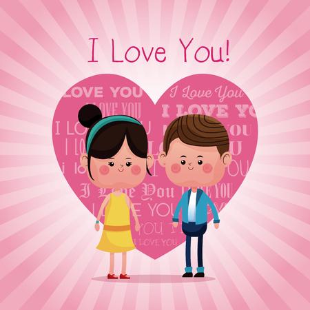 lovely young couple smiling i love you pink heart background vector illustration eps 10 Vektoros illusztráció
