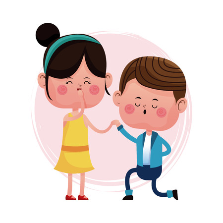 couple loving proposal happy vector illustration eps 10
