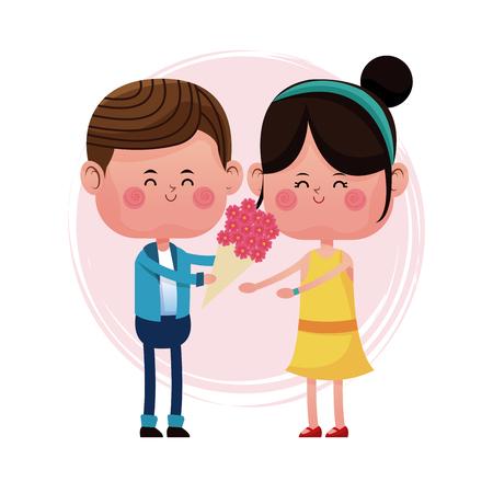 boy giving flower girl love card vector illustration eps 10 Illustration