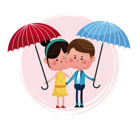 red umbrella: couple loving with blue and red umbrella vector illustration eps 10