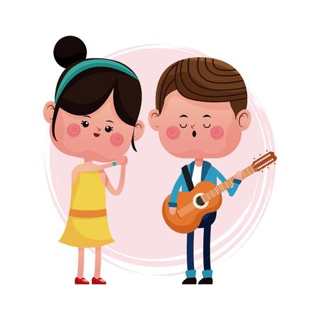 couple loving serenading with guitar vector illustration eps 10 Illustration