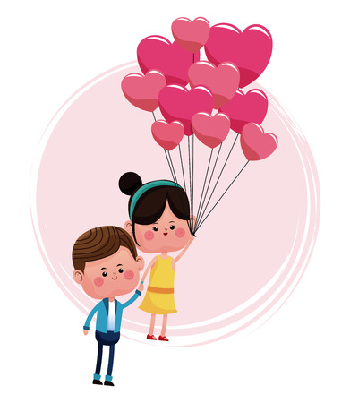 pink balloons: cute couple loving with pink balloons heart shaped vector illustration eps 10