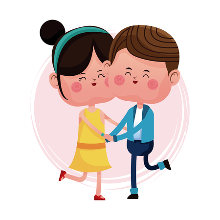 couple loving jumping cheerful day vector illustration eps 10