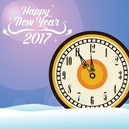 happy new year 2017 greeting card big clock snow vector illustration eps 10 Illustration