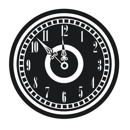 oldened: dark vintage clock timer midnight new year vector illustration eps 10 Illustration
