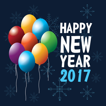 happy new year 2017 greeting card flying balloons ed snow vector illustration eps 10