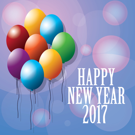 happy new year 2017 greeting card ed balloons blurred background vector illustration Illustration