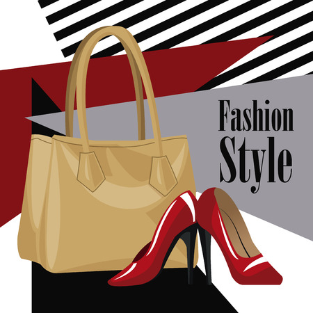 leather skirt: fashion style accessory wo purse red heel vector illustration