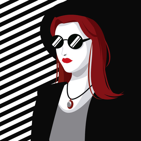 young wo style modern fashion red hair hat striped background vector illustration