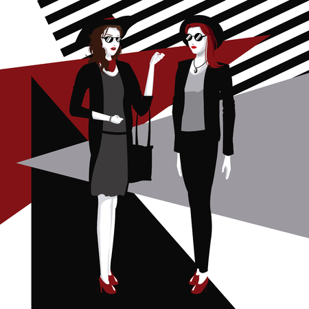 moda dos mujeres estilo ropa detallada ilustración vectorial