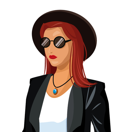 portrait wo fashion red hair hat sunglasses black jacket vector illustration