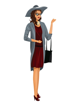 beautiful young wo red dress hat and sunglasses vector illustration