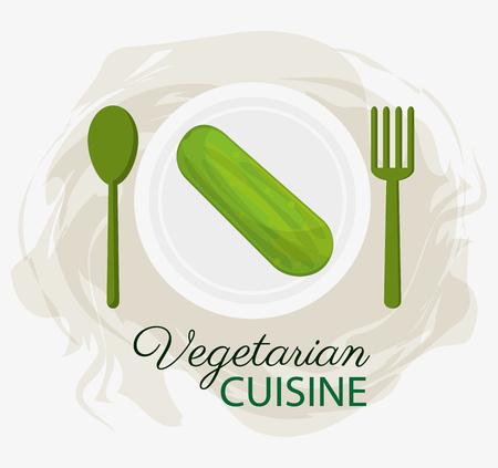 Gurke Vegetarische Küche Bio-Lebensmittel Teller Und Löffel Gabel ...