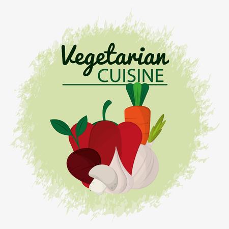 vegetables fresh salad vegetarian cuisine vector illustration Illustration