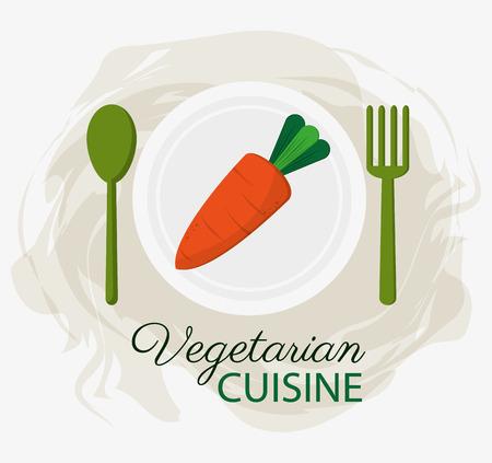 Carrot vegetarische Küche Bio-Lebensmittel Teller und Löffel Gabel Vektor-Illustration Standard-Bild - 67205507