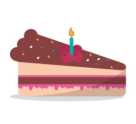 trozo de pastel: ilustración vectorial fiesta de cumpleaños de la vela de chocolate delicioso pedazo de la torta