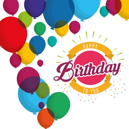 happy birthday explosion confetti balloons card vector illustration Illustration