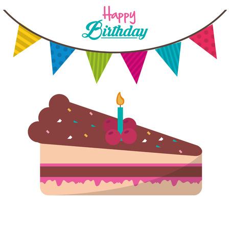 trozo de pastel: pieza de cumpleaños feliz ilustración torta vela guirnalda ed vectorial