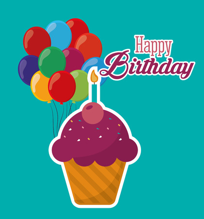 happy birthday cupcake candle ed balloons turquoise background vector illustration