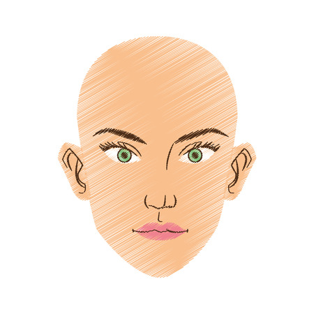Woman face cartoon icon. Girl female avatar person people and human theme. Isolated design. Vector illustration