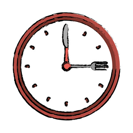 clock time dinner restaurant fork and knife drawing vector illustration eps 10
