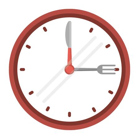 clock time dinner restaurant fork and knife vector illustration eps 10