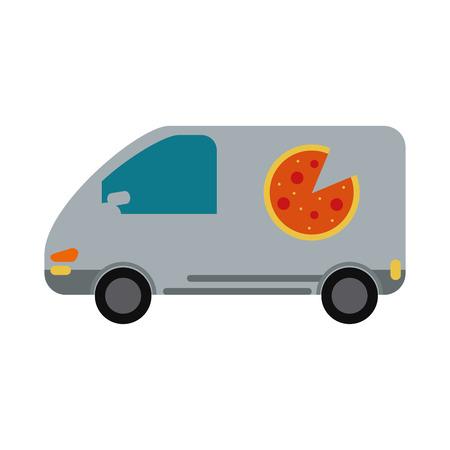 pizza delivery car van service vector illustration eps 10 Illustration