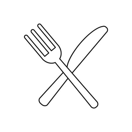 utensils kitchen crossed fork and knife outline vector illustration eps 10 Illustration