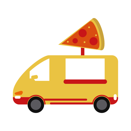 yellow pizza delivery truck fast food vector illlustration eps 10 Illustration