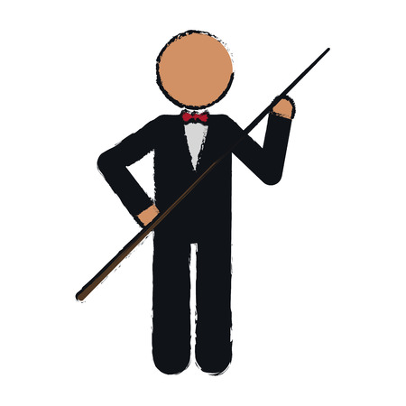 pool player: drawing character billiard player tuxedo vector illustration eps 10