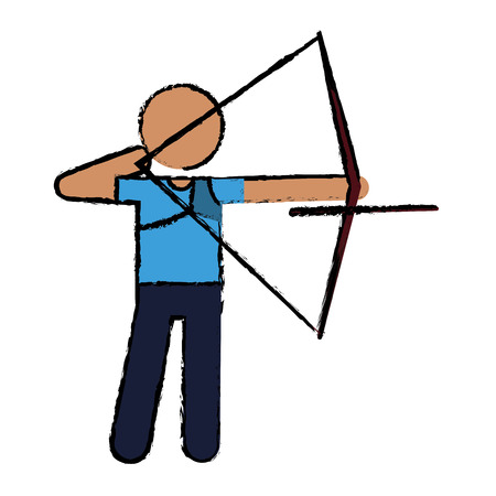 drawing archery player aiming bow game vector illustration eps 10 Illustration