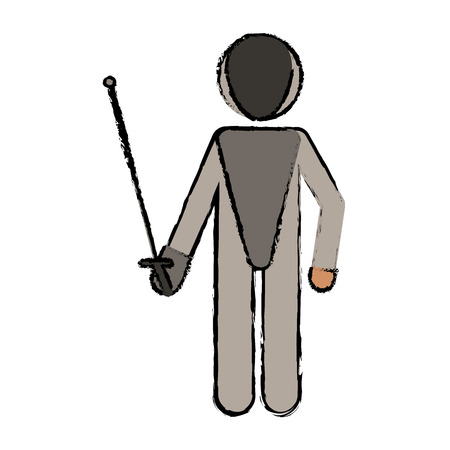 drawing fencing player sport athlete vector illustration eps 10