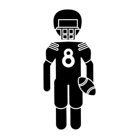 silhouette american football player with helmet and ball vector illustration eps 10