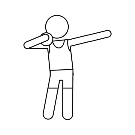shot put: athletic shot put ball throwing outline vector illustration eps 10